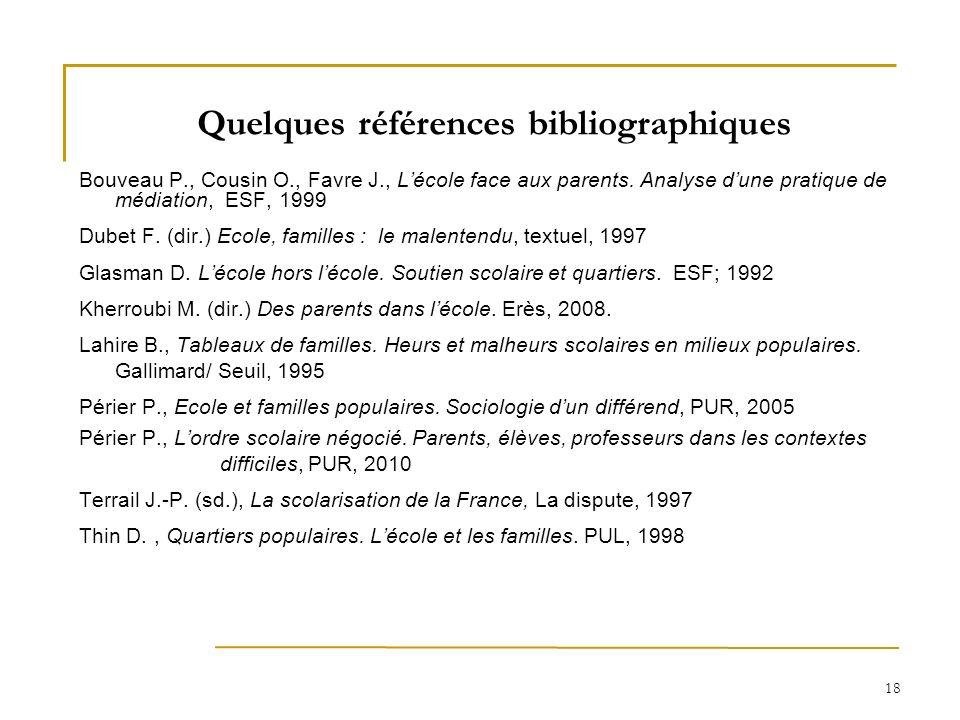 18 Quelques références bibliographiques Bouveau P., Cousin O., Favre J., Lécole face aux parents. Analyse dune pratique de médiation, ESF, 1999 Dubet