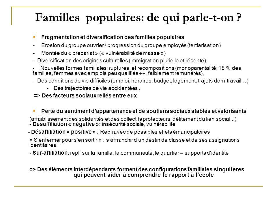 Familles populaires: de qui parle-t-on ? Fragmentation et diversification des familles populaires -Erosion du groupe ouvrier / progression du groupe e