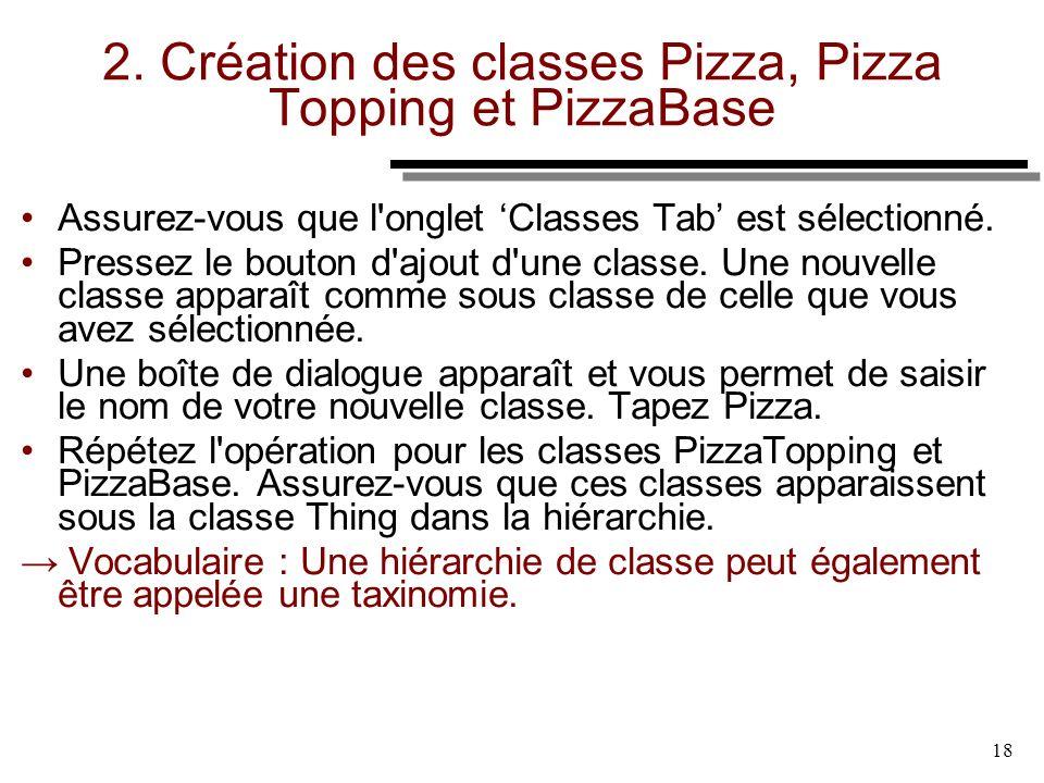 18 2. Création des classes Pizza, Pizza Topping et PizzaBase Assurez-vous que l'onglet Classes Tab est sélectionné. Pressez le bouton d'ajout d'une cl