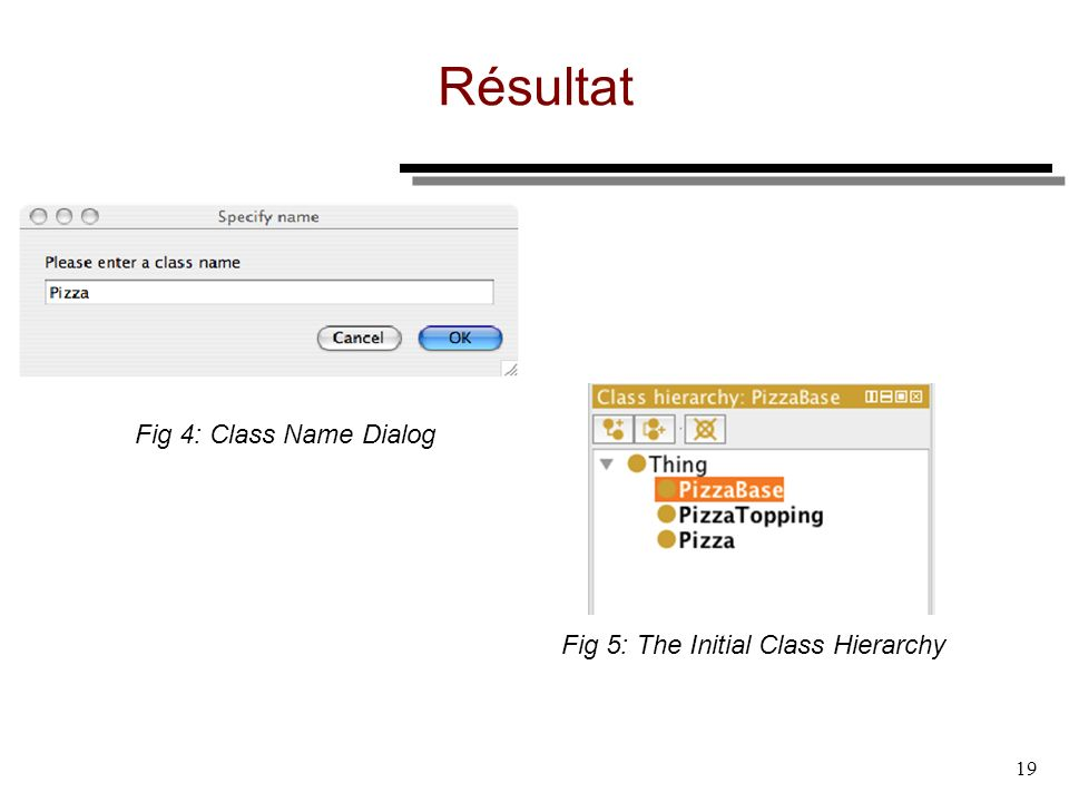 19 Résultat Fig 5: The Initial Class Hierarchy Fig 4: Class Name Dialog