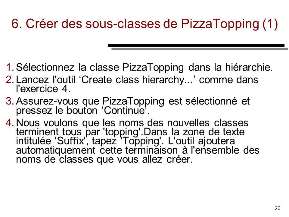 30 6. Créer des sous-classes de PizzaTopping (1) 1. Sélectionnez la classe PizzaTopping dans la hiérarchie. 2. Lancez l'outil Create class hierarchy..