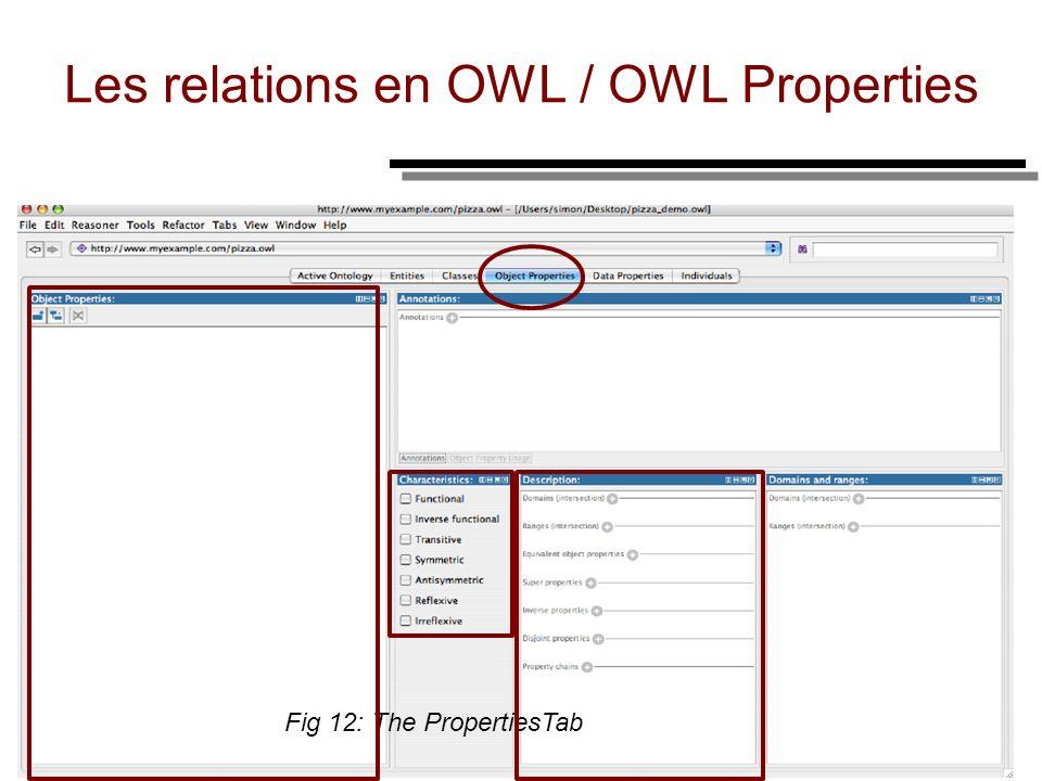 36 Les relations en OWL / OWL Properties Fig 12: The PropertiesTab