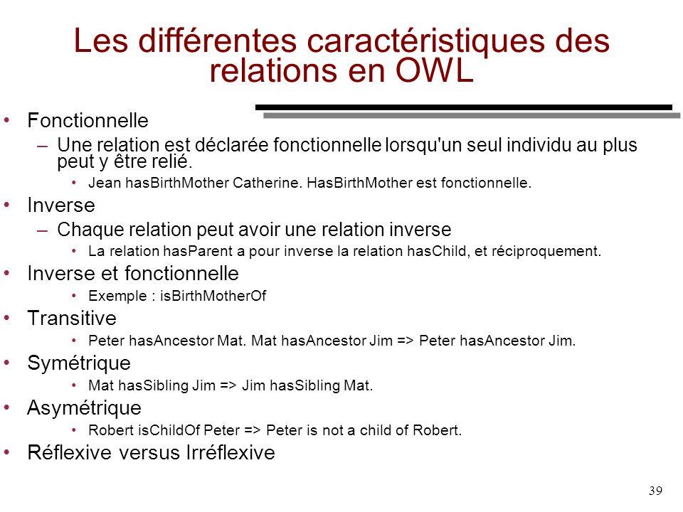 39 Les différentes caractéristiques des relations en OWL Fonctionnelle –Une relation est déclarée fonctionnelle lorsqu'un seul individu au plus peut y