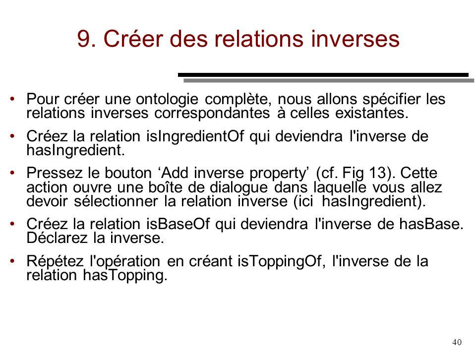 40 9. Créer des relations inverses Pour créer une ontologie complète, nous allons spécifier les relations inverses correspondantes à celles existantes