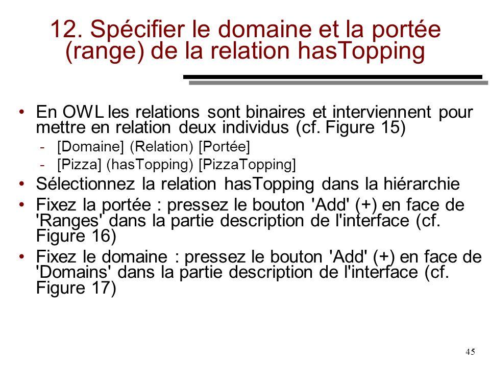45 12. Spécifier le domaine et la portée (range) de la relation hasTopping En OWL les relations sont binaires et interviennent pour mettre en relation
