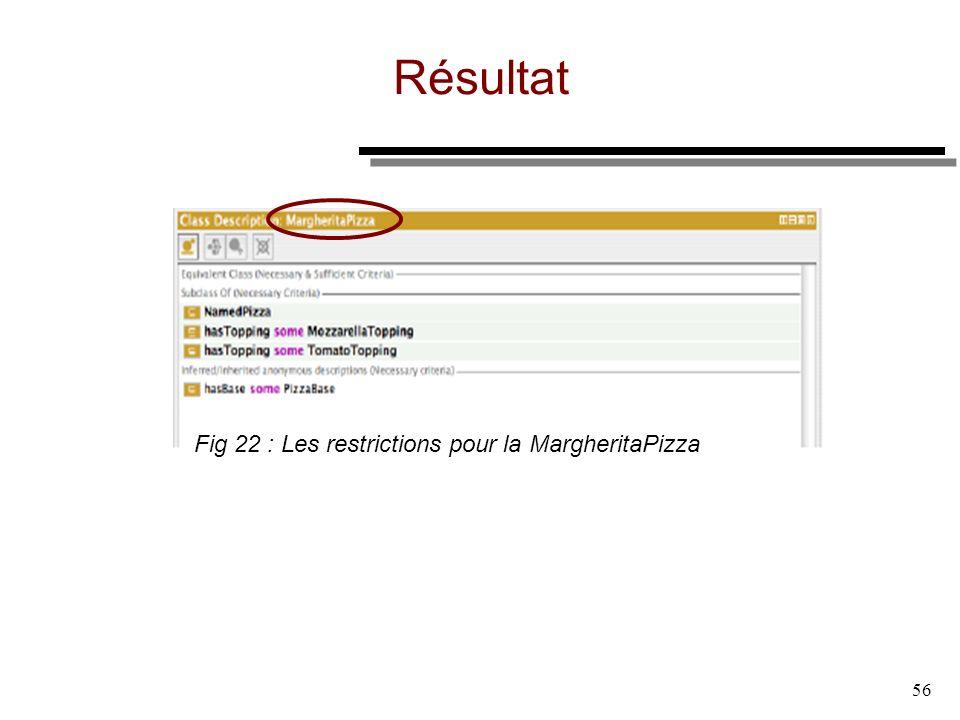 56 Résultat Fig 22 : Les restrictions pour la MargheritaPizza