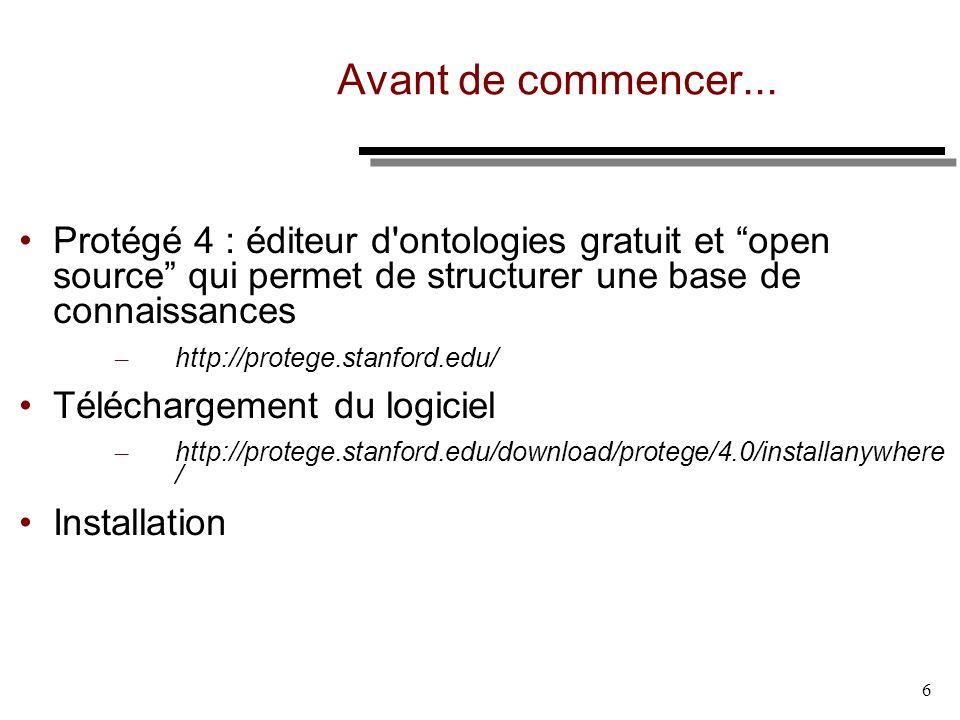 6 Avant de commencer... Protégé 4 : éditeur d'ontologies gratuit et open source qui permet de structurer une base de connaissances – http://protege.st