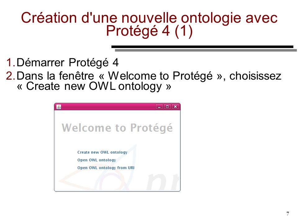 7 Création d'une nouvelle ontologie avec Protégé 4 (1) 1. Démarrer Protégé 4 2. Dans la fenêtre « Welcome to Protégé », choisissez « Create new OWL on