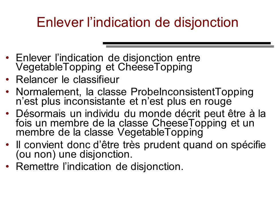 Enlever lindication de disjonction Enlever lindication de disjonction entre VegetableTopping et CheeseTopping Relancer le classifieur Normalement, la
