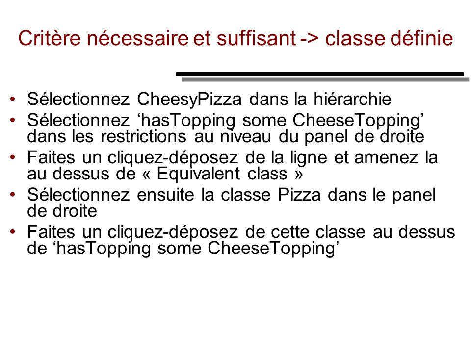 Critère nécessaire et suffisant -> classe définie Sélectionnez CheesyPizza dans la hiérarchie Sélectionnez hasTopping some CheeseTopping dans les rest