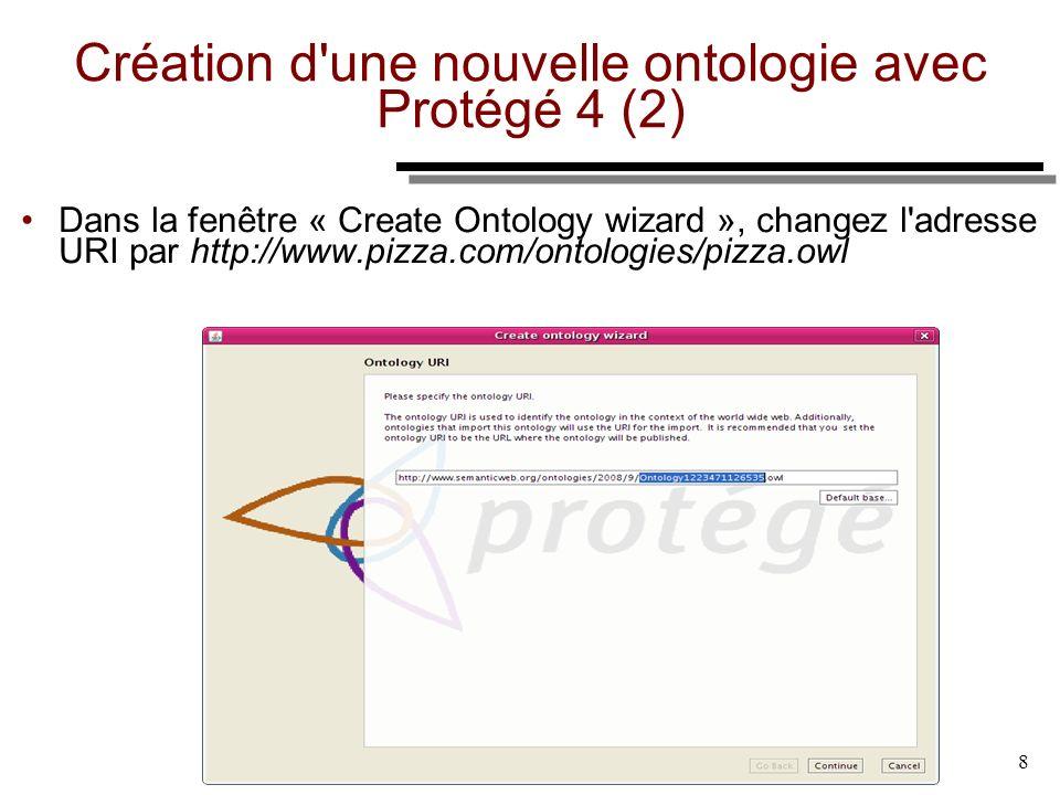 8 Création d'une nouvelle ontologie avec Protégé 4 (2) Dans la fenêtre « Create Ontology wizard », changez l'adresse URI par http://www.pizza.com/onto