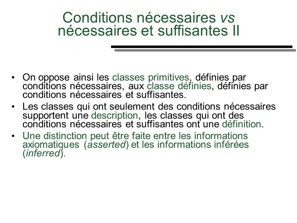 Des Conditions nécessaires vs nécessaires et suffisantes II On oppose ainsi les classes primitives, définies par conditions nécessaires, aux classe dé