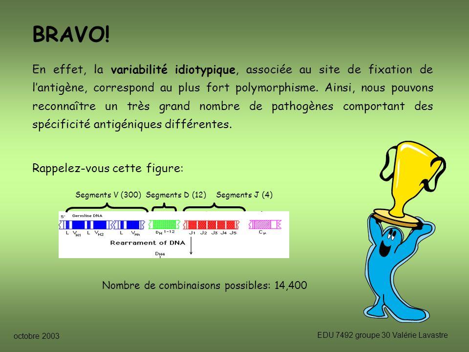 octobre 2003 EDU 7492 groupe 30 Valérie Lavastre BRAVO.