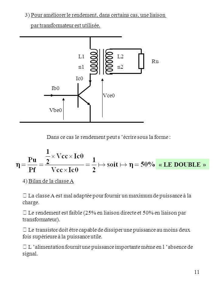 11 3) Pour améliorer le rendement, dans certains cas, une liaison par transformateur est utilisée. Ru L1 n1 L2 n2 Vce0 Vbe0 Ib0 Ic0 Dans ce cas le ren