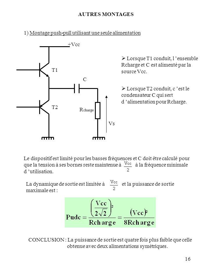 16 AUTRES MONTAGES 1) Montage push-pull utilisant une seule alimentation Lorsque T1 conduit, l ensemble Rcharge et C est alimenté par la source Vcc. L