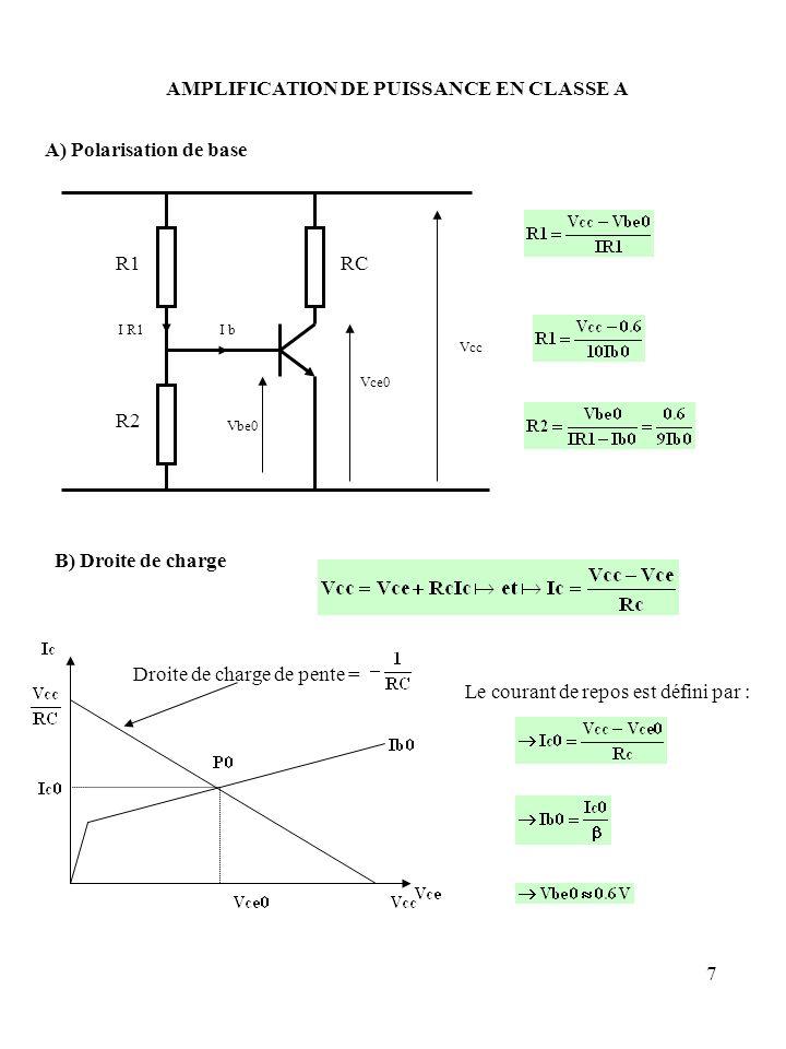7 AMPLIFICATION DE PUISSANCE EN CLASSE A A) Polarisation de base Vbe0 Vcc Vce0 I bI R1 R1 R2 RC B) Droite de charge Droite de charge de pente = Le cou