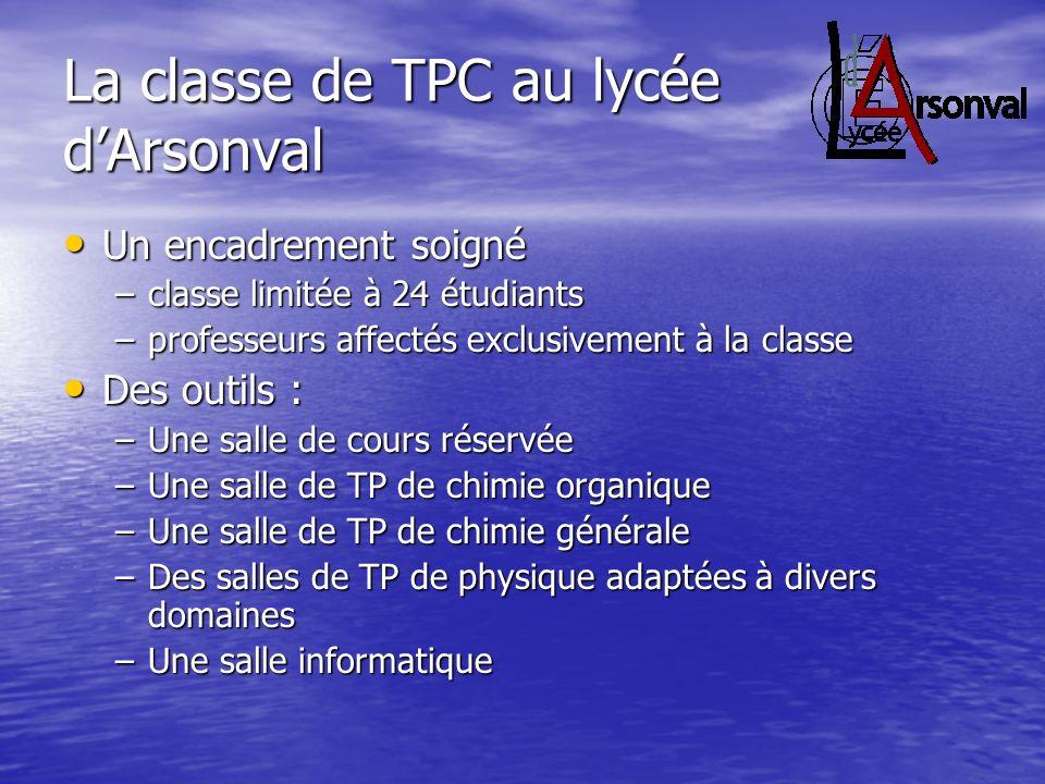 La classe de TPC au lycée dArsonval Un encadrement soigné Un encadrement soigné –classe limitée à 24 étudiants –professeurs affectés exclusivement à l