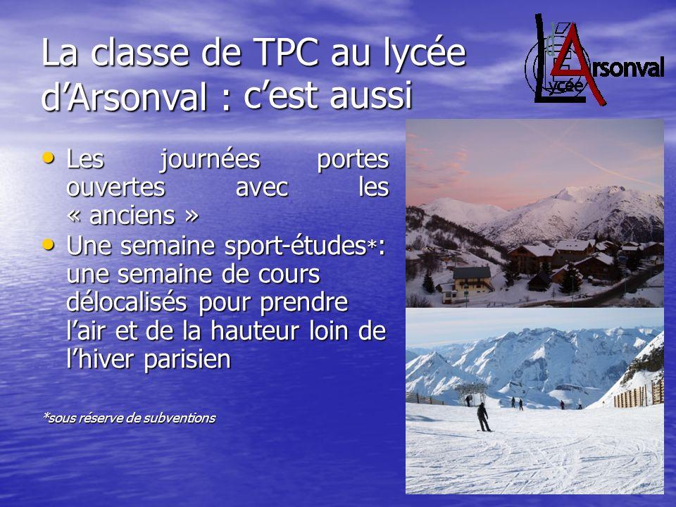 La classe de TPC au lycée dArsonval : Les journées portes ouvertes avec les « anciens » Les journées portes ouvertes avec les « anciens » cest aussi U