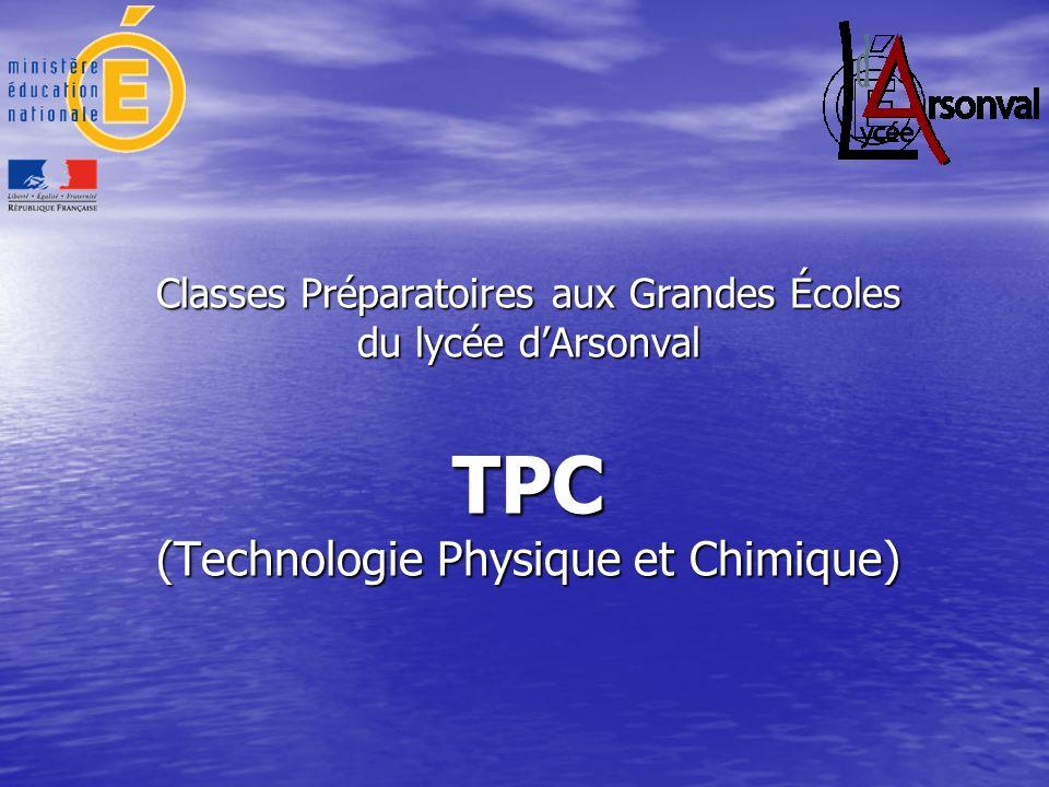 La classe de TPC au lycée dArsonval Un cadre aéré Un cadre aéré Pour sévader un peu Pour sévader un peu –Gymnase –Salle de musique
