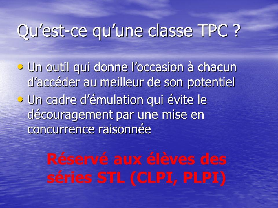 Quest-ce quune classe TPC .