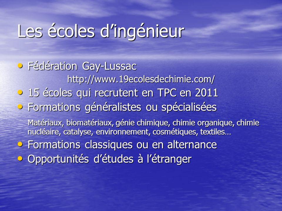 Les écoles dingénieur Fédération Gay-Lussac Fédération Gay-Lussachttp://www.19ecolesdechimie.com/ 15 écoles qui recrutent en TPC en 2011 15 écoles qui