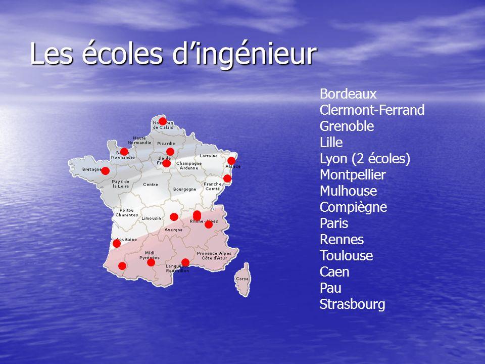 Les écoles dingénieur Bordeaux Clermont-Ferrand Grenoble Lille Lyon (2 écoles) Montpellier Mulhouse Compiègne Paris Rennes Toulouse Caen Pau Strasbour