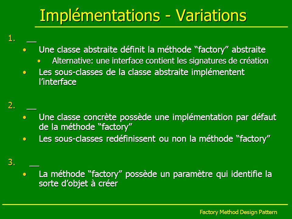 Factory Method Design Pattern Implémentations - Variations 1.__ Une classe abstraite définit la méthode factory abstraiteUne classe abstraite définit