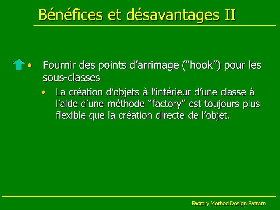 Factory Method Design Pattern Bénéfices et désavantages II Fournir des points darrimage (hook) pour les sous-classesFournir des points darrimage (hook
