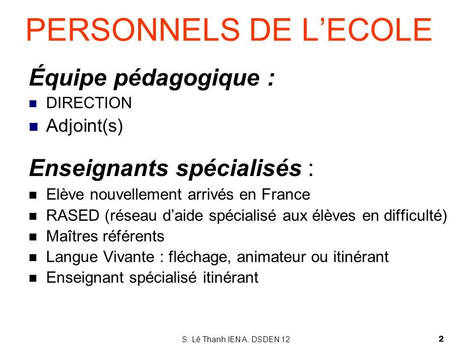 Équipe pédagogique : DIRECTION Adjoint(s) Enseignants spécialisés : Elève nouvellement arrivés en France RASED (réseau daide spécialisé aux élèves en
