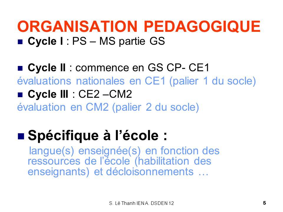 ORGANISATION PEDAGOGIQUE Cycle I : PS – MS partie GS Cycle II : commence en GS CP- CE1 évaluations nationales en CE1 (palier 1 du socle) Cycle III : C