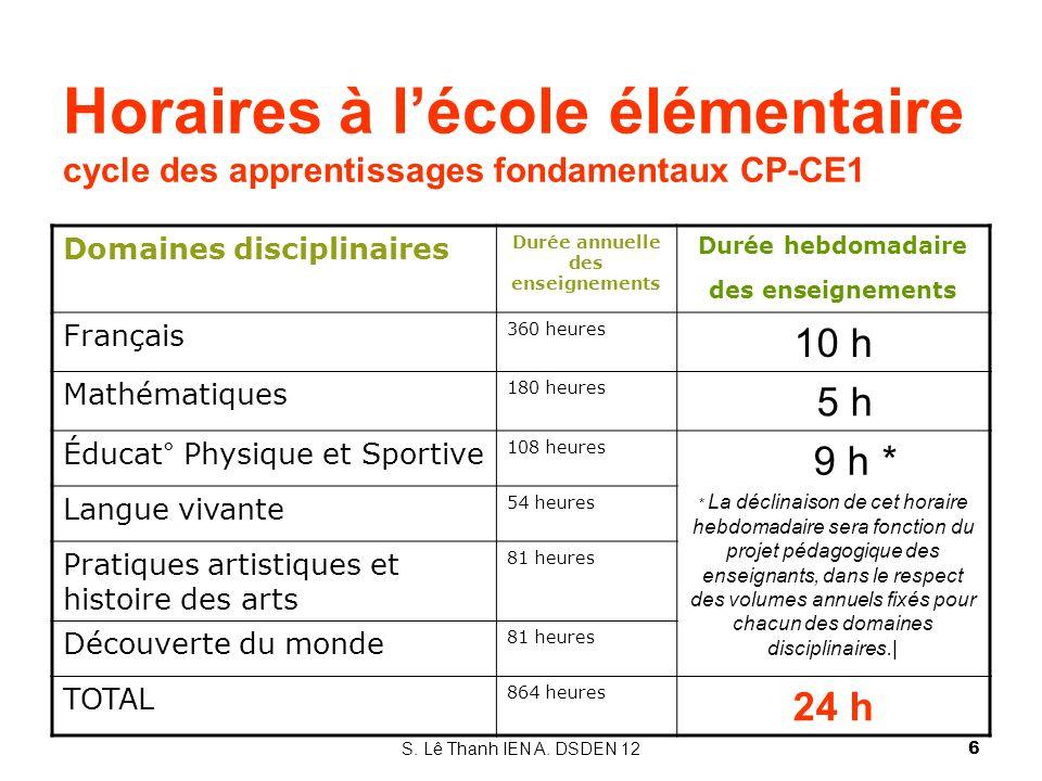 Horaires à lécole élémentaire cycle des apprentissages fondamentaux CP-CE1 Domaines disciplinaires Durée annuelle des enseignements Durée hebdomadaire