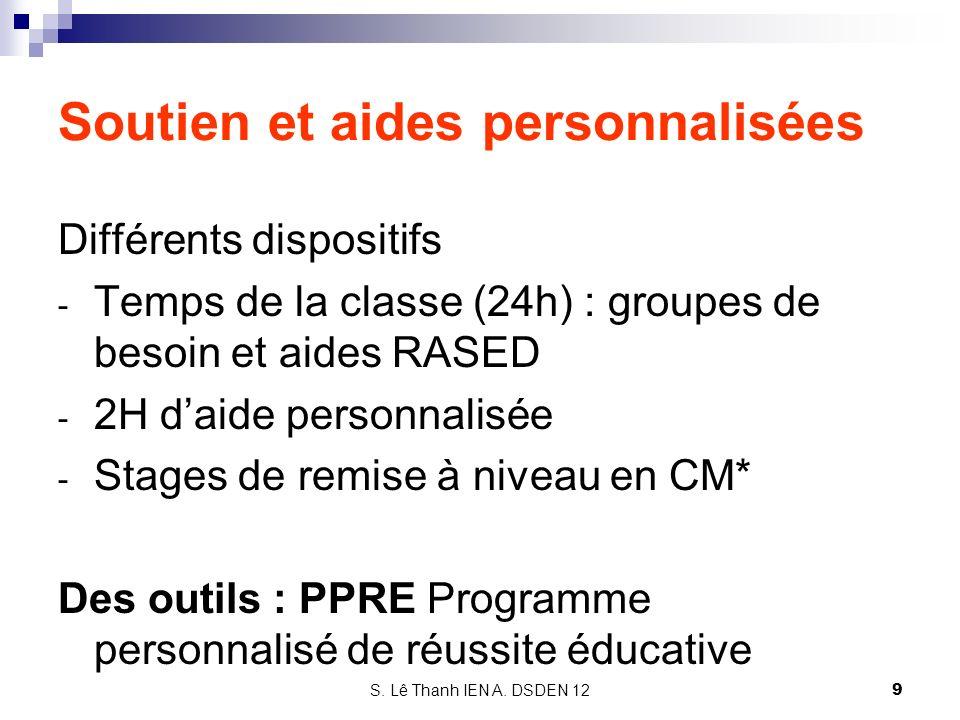 S. Lê Thanh IEN A. DSDEN 12 Soutien et aides personnalisées Différents dispositifs - Temps de la classe (24h) : groupes de besoin et aides RASED - 2H