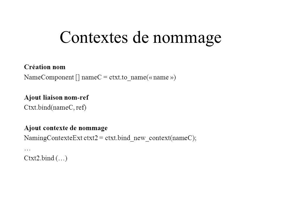 Contextes de nommage Création nom NameComponent [] nameC = ctxt.to_name(« name ») Ajout liaison nom-ref Ctxt.bind(nameC, ref) Ajout contexte de nommage NamingContexteExt ctxt2 = ctxt.bind_new_context(nameC); … Ctxt2.bind (…)