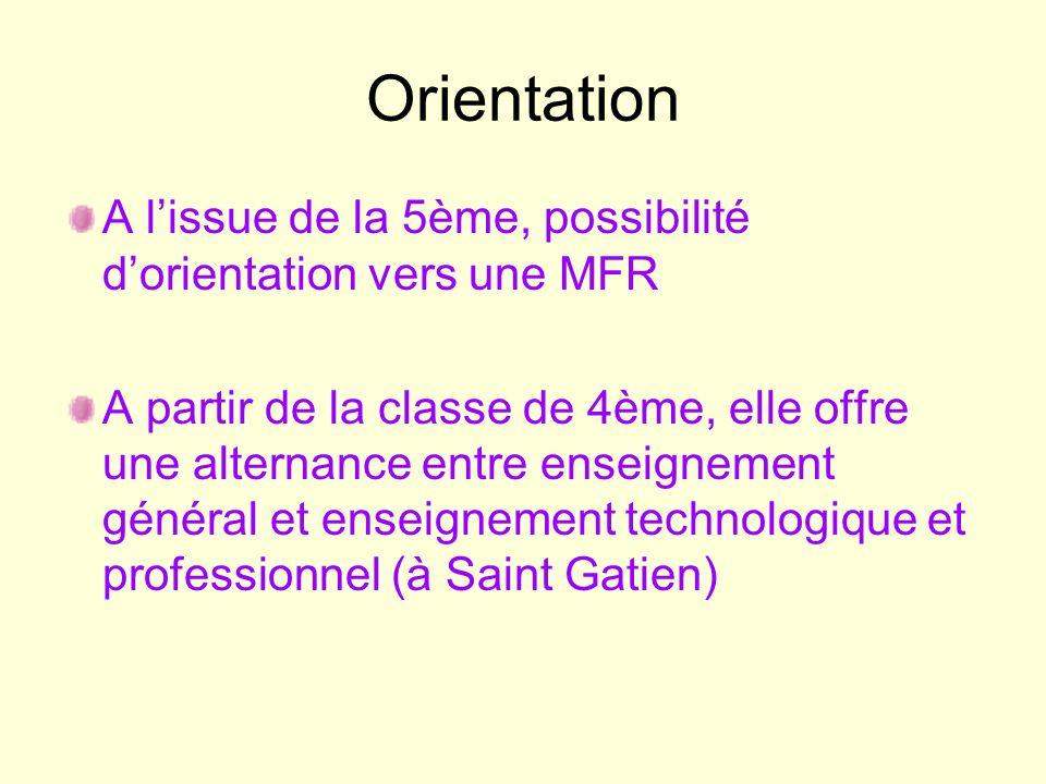 Orientation A lissue de la 5ème, possibilité dorientation vers une MFR A partir de la classe de 4ème, elle offre une alternance entre enseignement gén