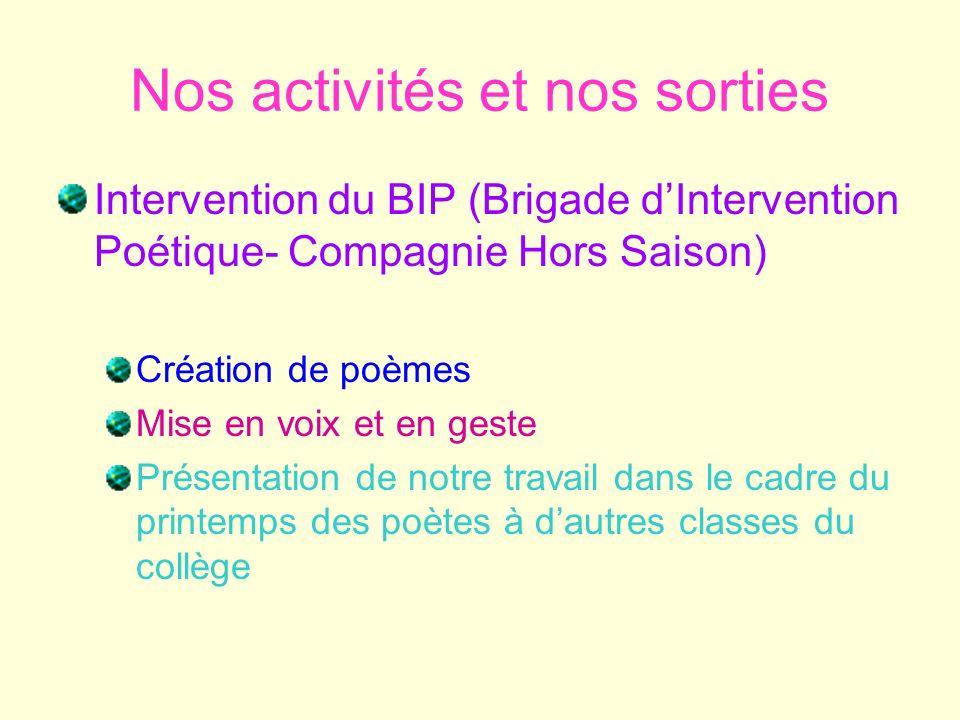 Nos activités et nos sorties Intervention du BIP (Brigade dIntervention Poétique- Compagnie Hors Saison) Création de poèmes Mise en voix et en geste P