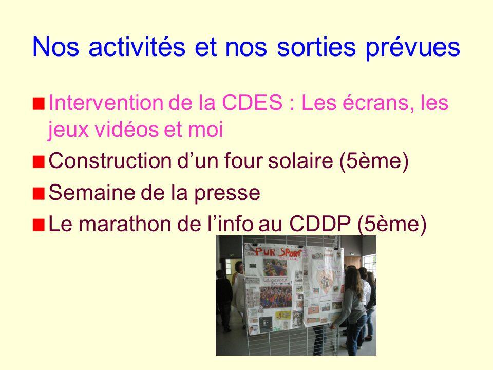Nos activités et nos sorties prévues Intervention de la CDES : Les écrans, les jeux vidéos et moi Construction dun four solaire (5ème) Semaine de la p