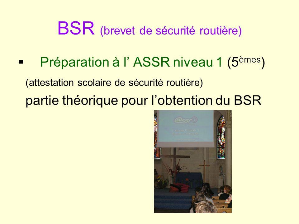 BSR (brevet de sécurité routière) Préparation à l ASSR niveau 1 (5 èmes ) (attestation scolaire de sécurité routière) partie théorique pour lobtention