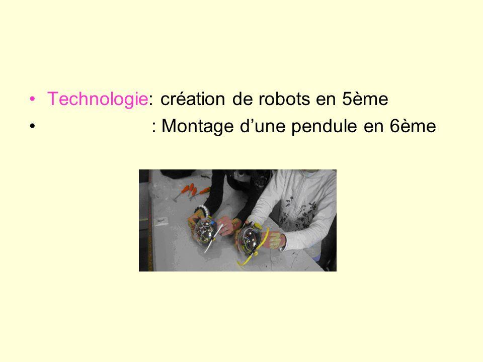 Technologie: création de robots en 5ème : Montage dune pendule en 6ème