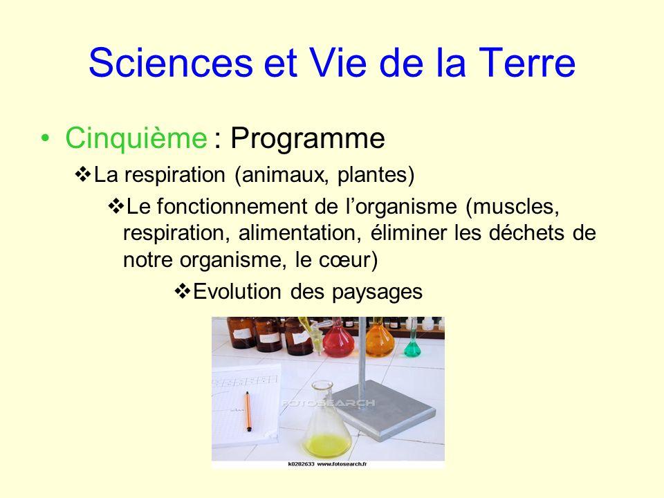 Sciences et Vie de la Terre Cinquième : Programme La respiration (animaux, plantes) Le fonctionnement de lorganisme (muscles, respiration, alimentatio