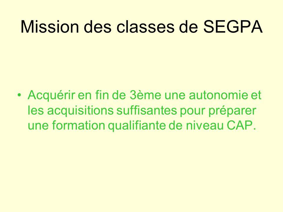 Mission des classes de SEGPA Acquérir en fin de 3ème une autonomie et les acquisitions suffisantes pour préparer une formation qualifiante de niveau C