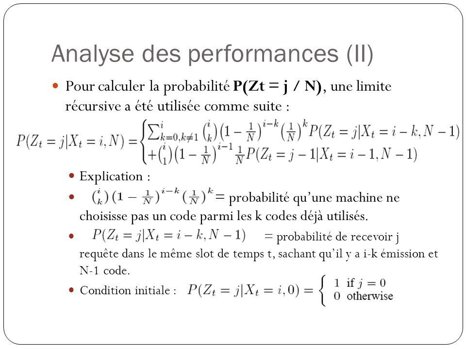 Analyse des performances (II) Pour calculer la probabilité P(Zt = j / N), une limite récursive a été utilisée comme suite : Explication : = probabilité quune machine ne choisisse pas un code parmi les k codes déjà utilisés.