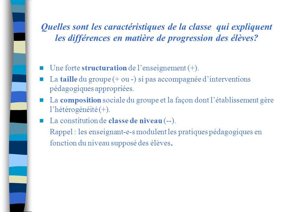 Quelles sont les caractéristiques de la classe qui expliquent les différences en matière de progression des élèves.