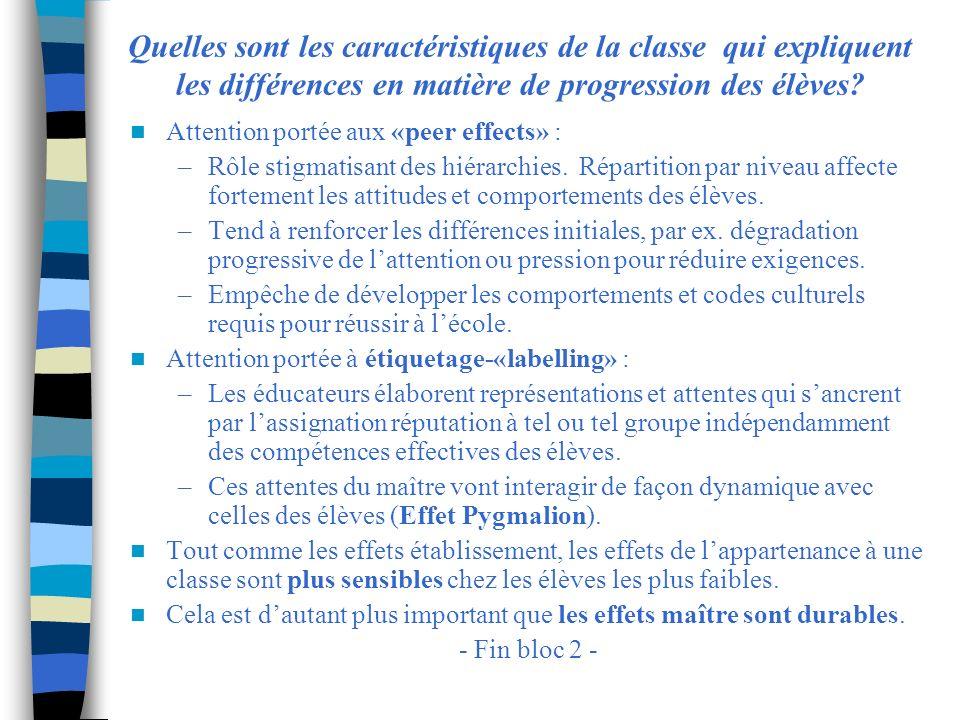 Quelles sont les caractéristiques de la classe qui expliquent les différences en matière de progression des élèves? Attention portée aux «peer effects