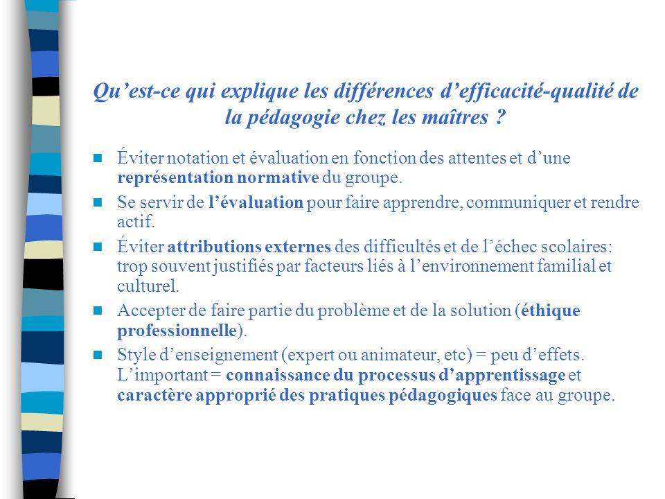 Quest-ce qui explique les différences defficacité-qualité de la pédagogie chez les maîtres ? Éviter notation et évaluation en fonction des attentes et