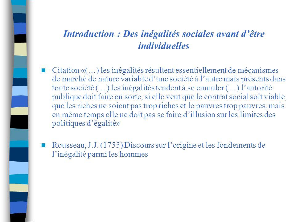 Introduction : Des inégalités sociales avant dêtre individuelles Citation «(…) les inégalités résultent essentiellement de mécanismes de marché de nat