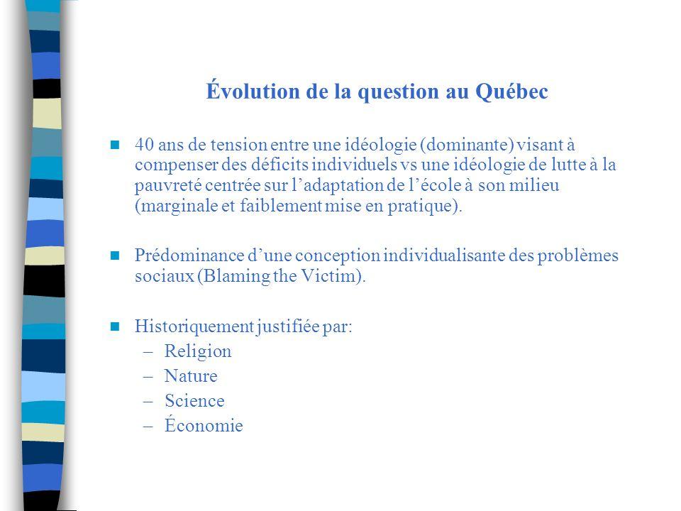 Évolution de la question au Québec 40 ans de tension entre une idéologie (dominante) visant à compenser des déficits individuels vs une idéologie de l