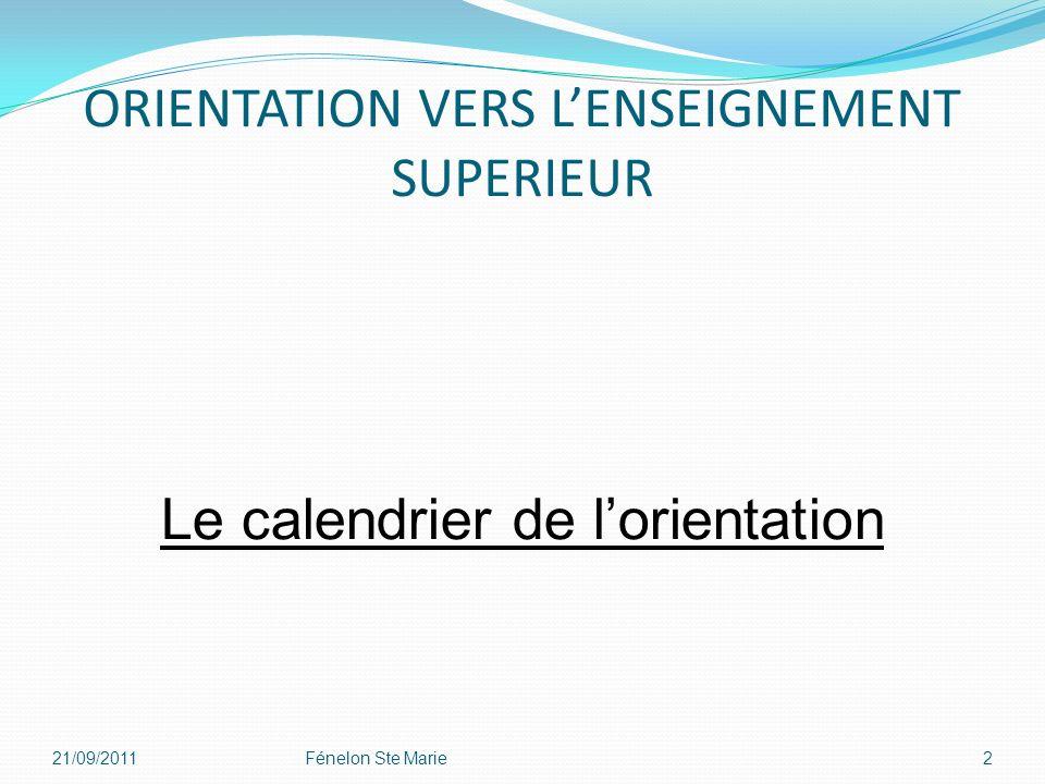 ORIENTATION VERS LENSEIGNEMENT SUPERIEUR 21/09/2011Fénelon Ste Marie2 Le calendrier de lorientation