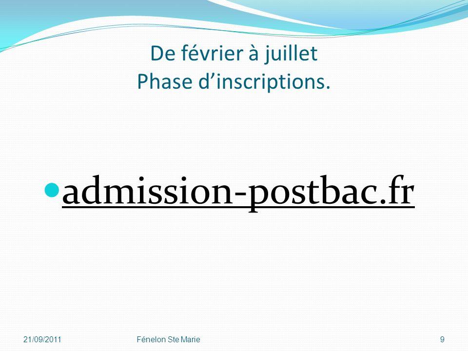 De février à juillet Phase dinscriptions. admission-postbac.fr 21/09/2011Fénelon Ste Marie9