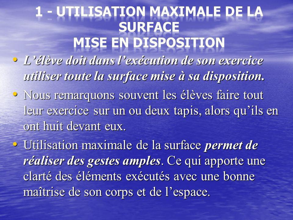 1- Lutilisation maximale de la surface mise en disposition 1- Lutilisation maximale de la surface mise en disposition 2- deux éléments acrobatiques au