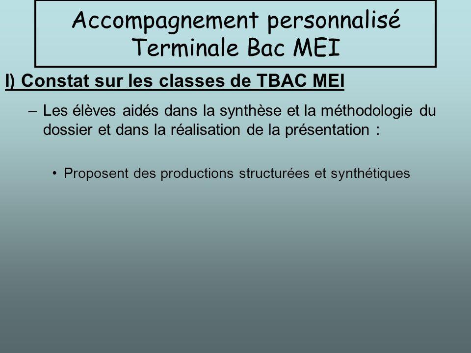 –Les élèves aidés dans la synthèse et la méthodologie du dossier et dans la réalisation de la présentation : Proposent des productions structurées et